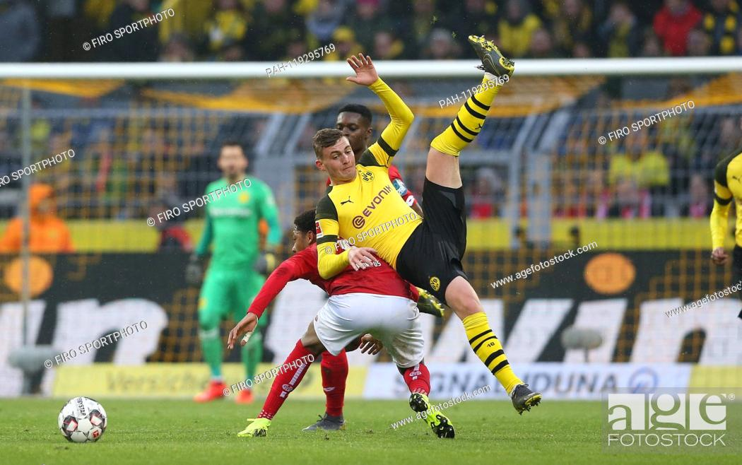 Stock Photo: firo: 13.04.2019, football, 1.Bundesliga, season 2018/2019, BVB, Borussia Dortmund - FSV FSV FSV Mainz 05 2-1, Jacob BRUUN LARSEN, BVB.