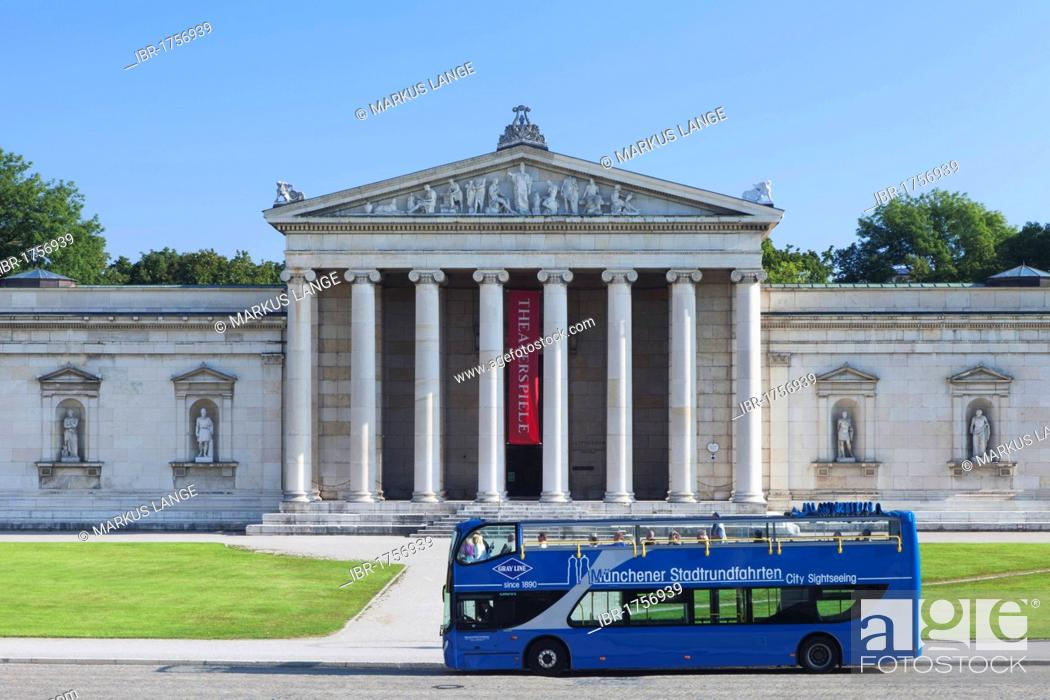Stock Photo: Bus for Munich city tours in front of the Glyptothek Museum, Munich, Upper Bavaria, Bavaria, Germany, Europe.