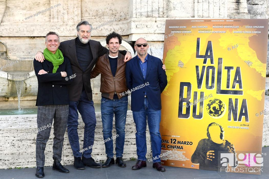 Stock Photo: Vincenzo Marra, Massimo Ghini, Max Tortora, Francesco Montanari during 'La volta buona' film photocall, Rome, 04/03/2020.