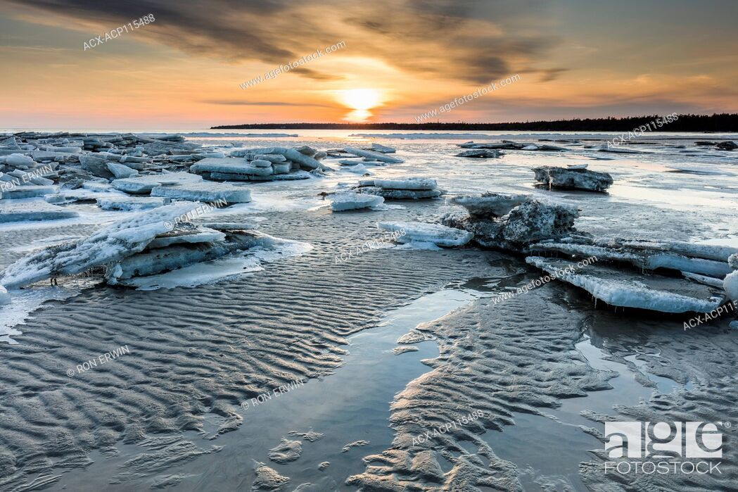 Stock Photo: Melting ice on Singing Sands Beach at Dorcas Bay in Bruce Peninsula National Park, Ontario, Canada.