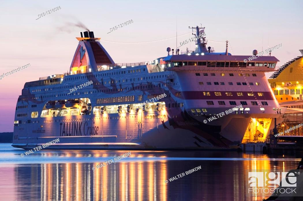Stock Photo: Estonia, Tallinn, Passenger Port, international ferry, sunrise.