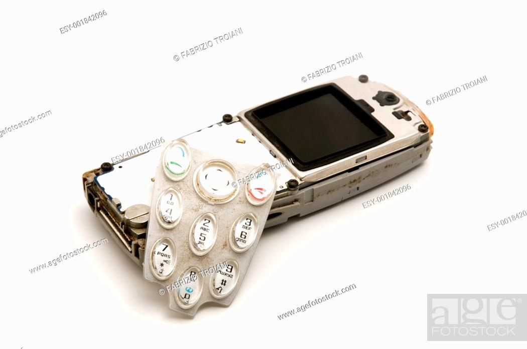 Stock Photo: Broken mobile on a white background.