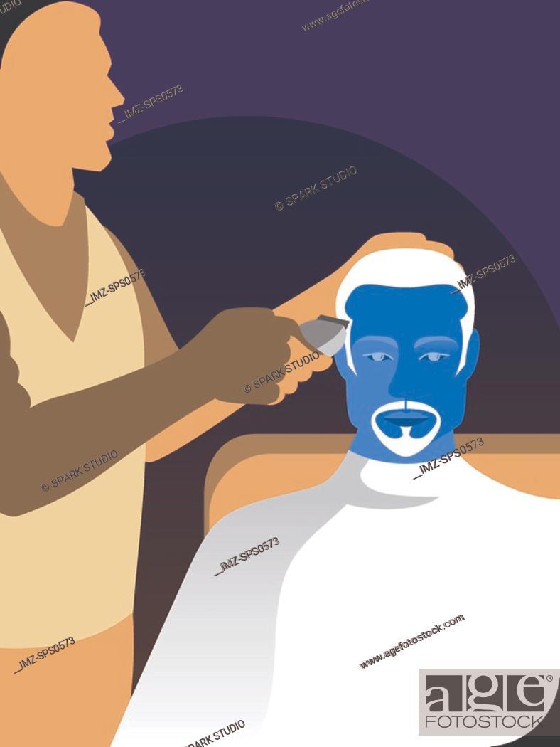 Stock Photo: A man getting a hair cut.