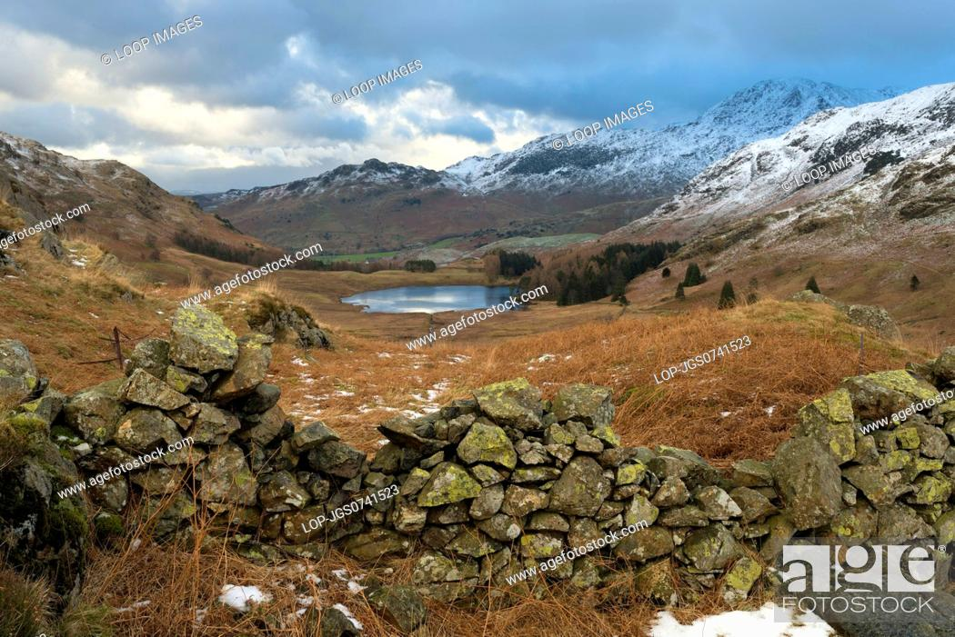 Stock Photo: A view of Blea Tarn from Side Pike.