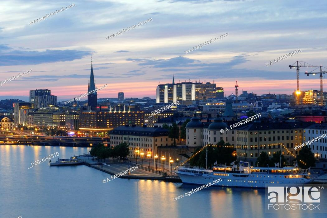 Stock Photo: STOCKHOLM, SWEDEN CITY SKYLINE AT DUSK.