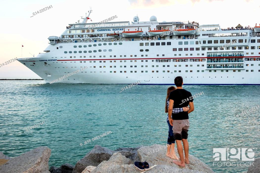 Stock Photo Florida Miami Beach South Pointe Park Carnival Cruise Ship