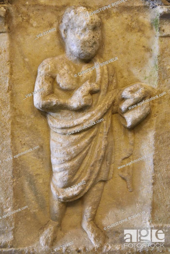 "Stock Photo: Italy, Liguria, Camogli, Abbey of San Fruttuoso , Roman sarcophagus of ""the teaching philosopher"" (3d C)."