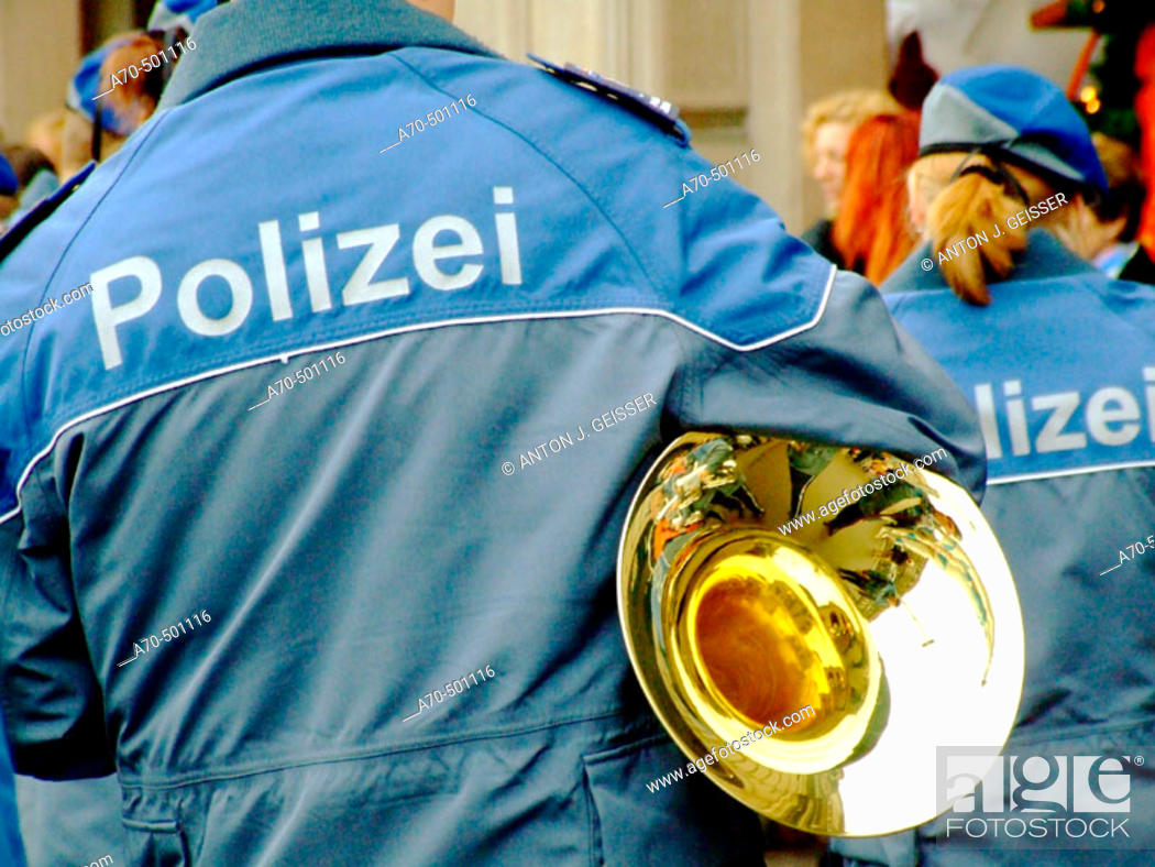 Stock Photo: Police brass band. Switzerland.