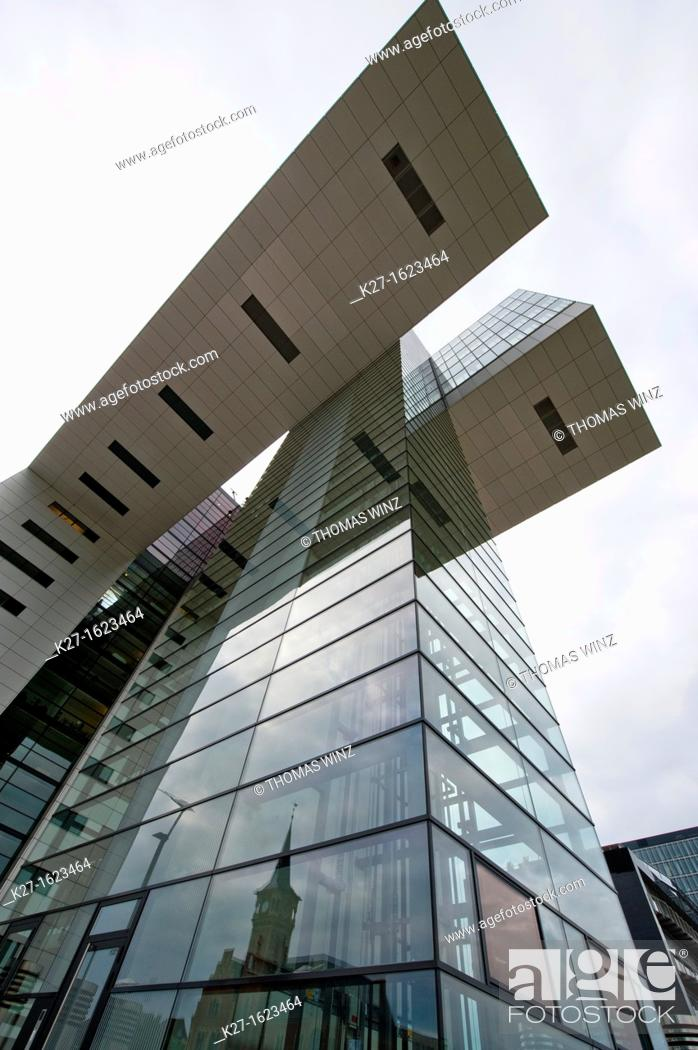 Stock Photo: Kranhaus modern building on Rheinauhafen, Cologne, North Rhine-Westphalia, Germany.