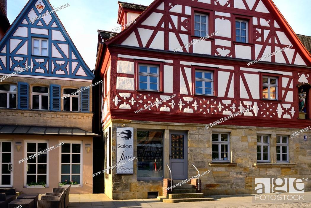 Stock Photo: Facades of half-timbered houses at Sattlertorstrasse, hairdresser salon at ground level, historic part of Forchheim, Forchheim, Franconian Switzerland.
