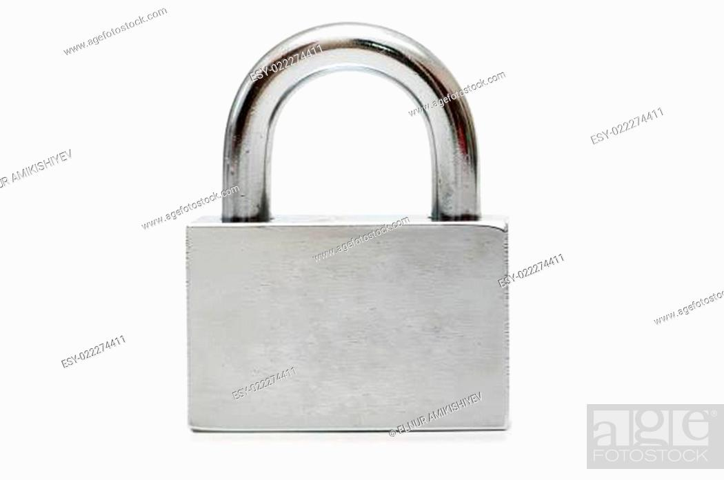 Photo de stock: Silver padlock isolated on the white background.