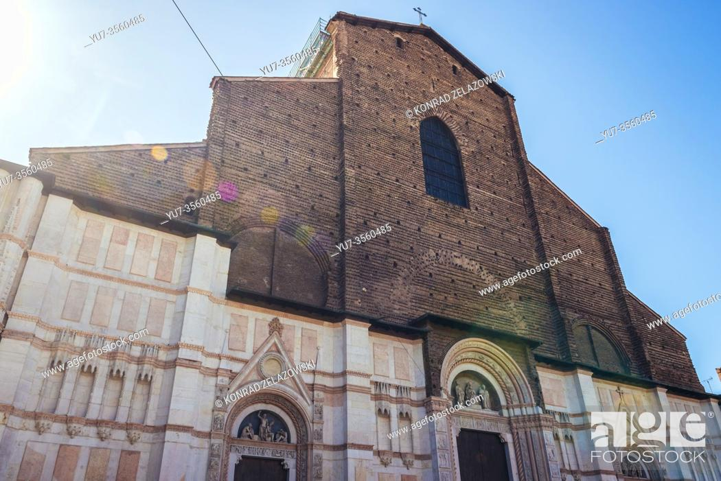 Stock Photo: San Petronio Basilica in Bologna, capital and largest city of the Emilia Romagna region in Northern Italy.