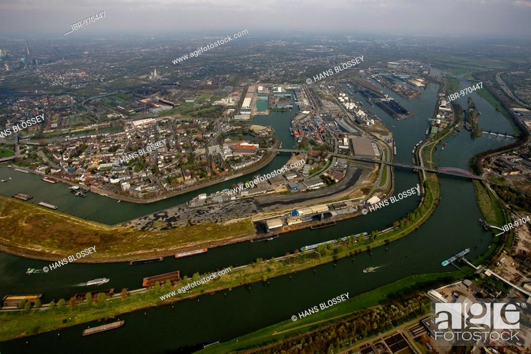 Stock Photo: Aerial photo, DuisPort, inland port, Ruhr estauary, Rhine-Herne canal, Ruhrort, Duisburg, Ruhr area, North Rhine-Westphalia, Germany, Europe.