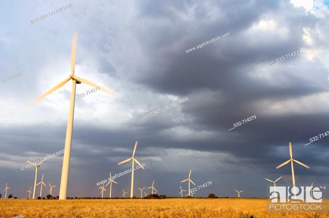 Stock Photo: Wind turbines, La Muela. Zaragoza province, Aragon, Spain.