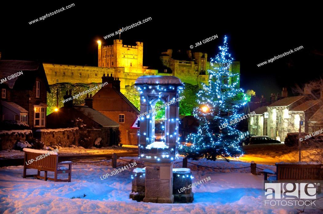 England Christmas Decorations.England Northumberland Bamburgh Christmas Decorations In