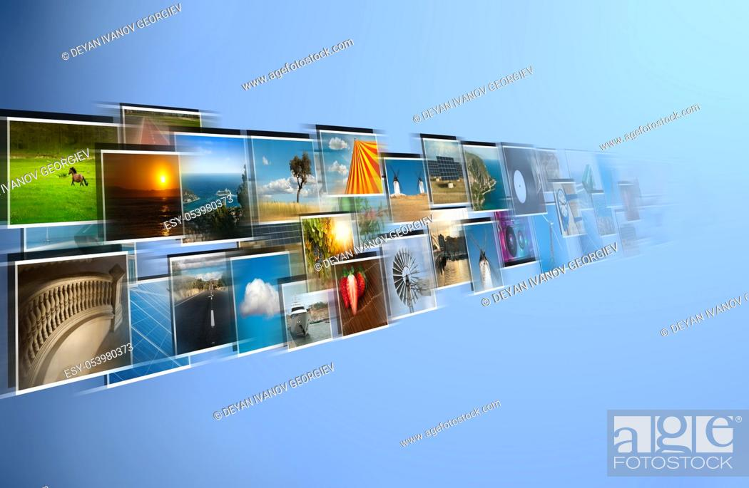 Stock Photo: Perspective of images streaming from the deep.