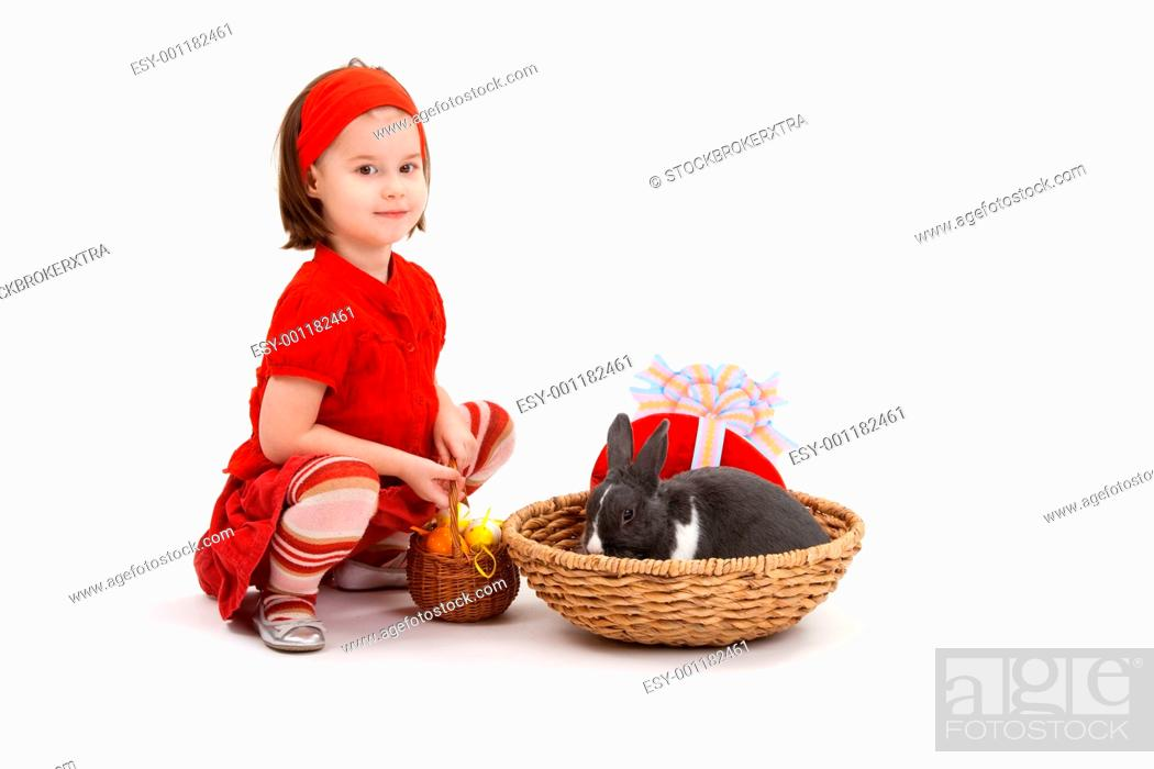 Stock Photo: Little girl with Easter bunny.