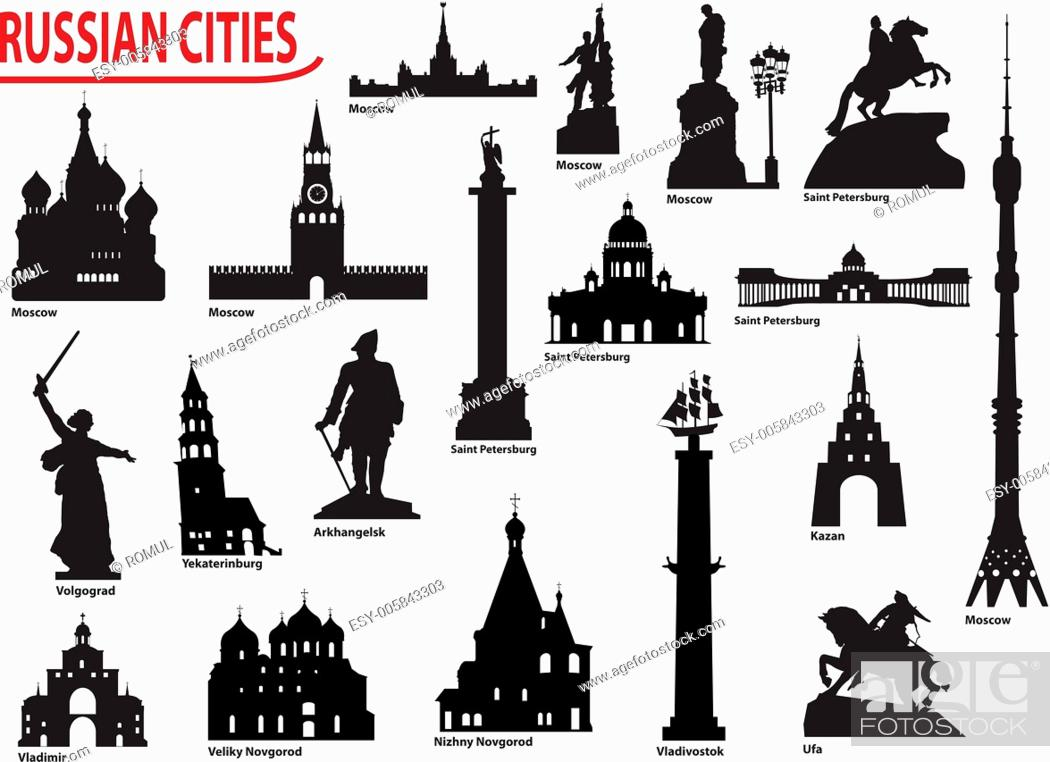 Symbols Of Russian Cities Stock Vector Vector And Low Budget