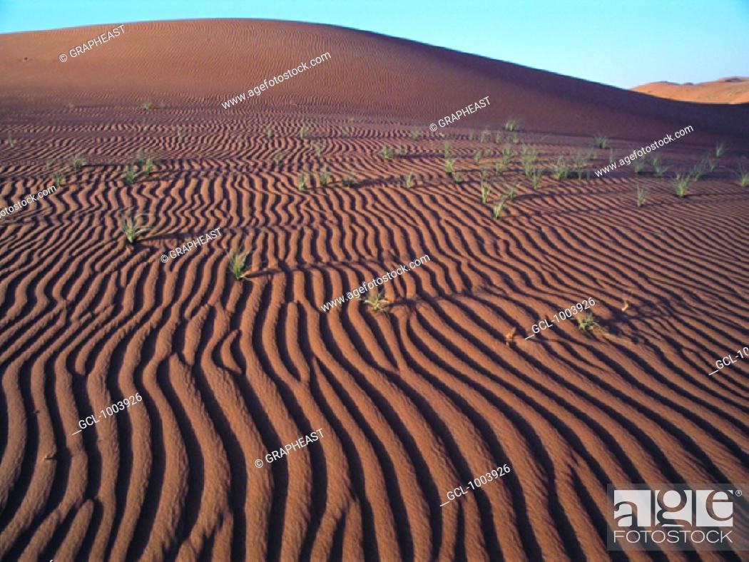 Stock Photo: Ripples in desert sand near Al Ain, United Arab Emirates.