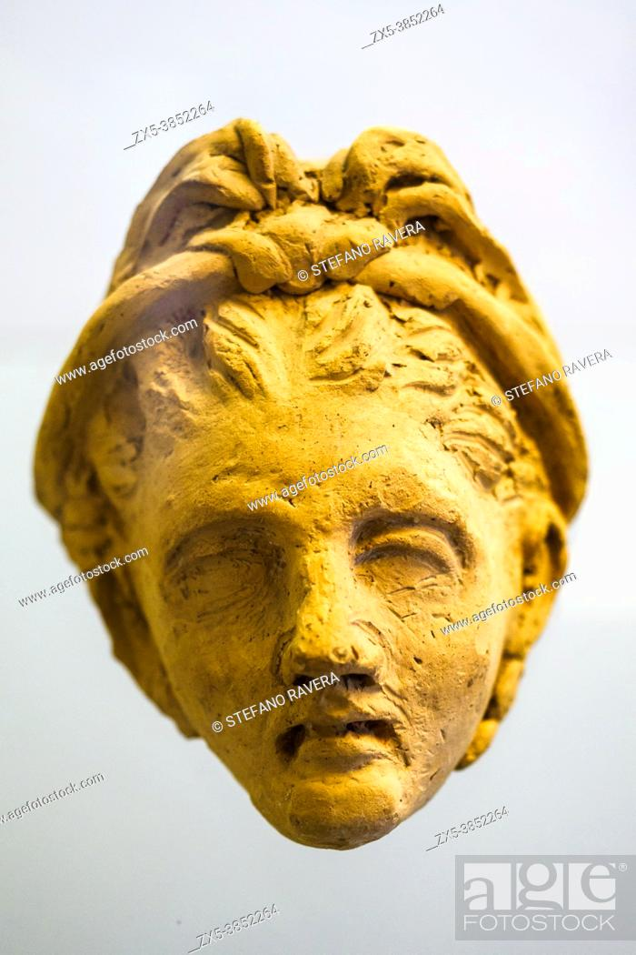 Stock Photo: Clay mask (III-II cent BC) - Tarquinia National Archaeological Museum, Italy.