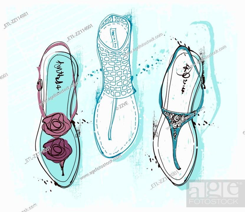 Stock Photo: Feminine Sandals.