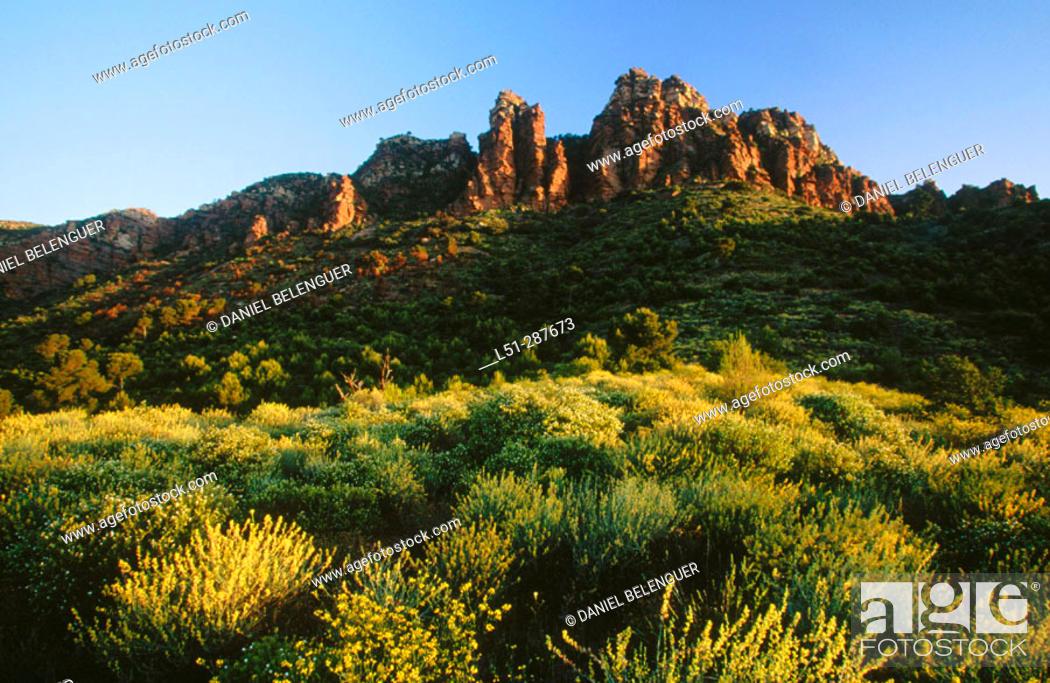 Stock Photo: Siliceous rock formations. Serra Calderona Natural Park. Valencia province, Spain.