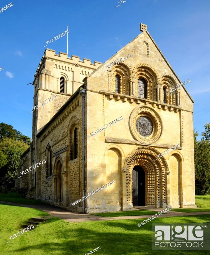 Stock Photo: The 12th century parish church of St Mary's Iffley, Oxford, England, UK.