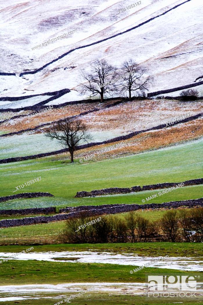 Stock Photo: Winter landscape in Upper Wharfedale Yorkshire England.