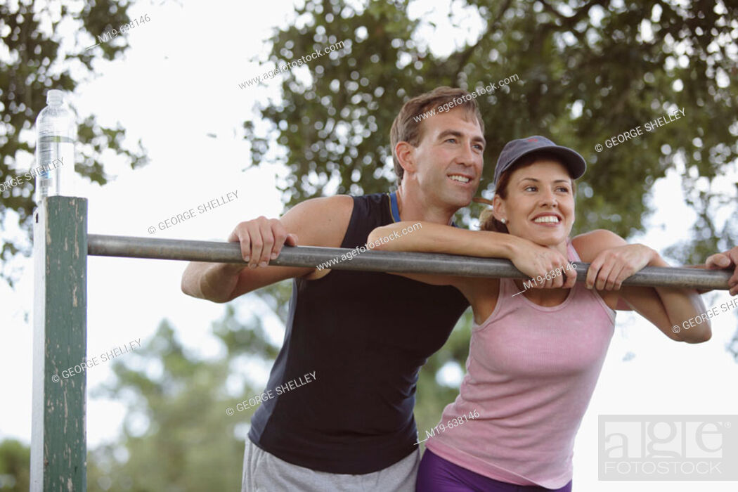 Stock Photo: Couple working out together.