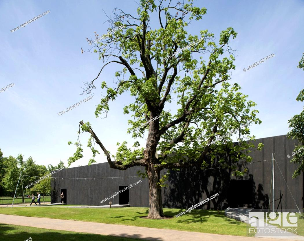 Stock Photo: Serpentine Pavilion 2011, Peter Zumthor, Hyde Park London, exterior view, PETER ZUMTHOR, UNITED KINGDOM, Architect.