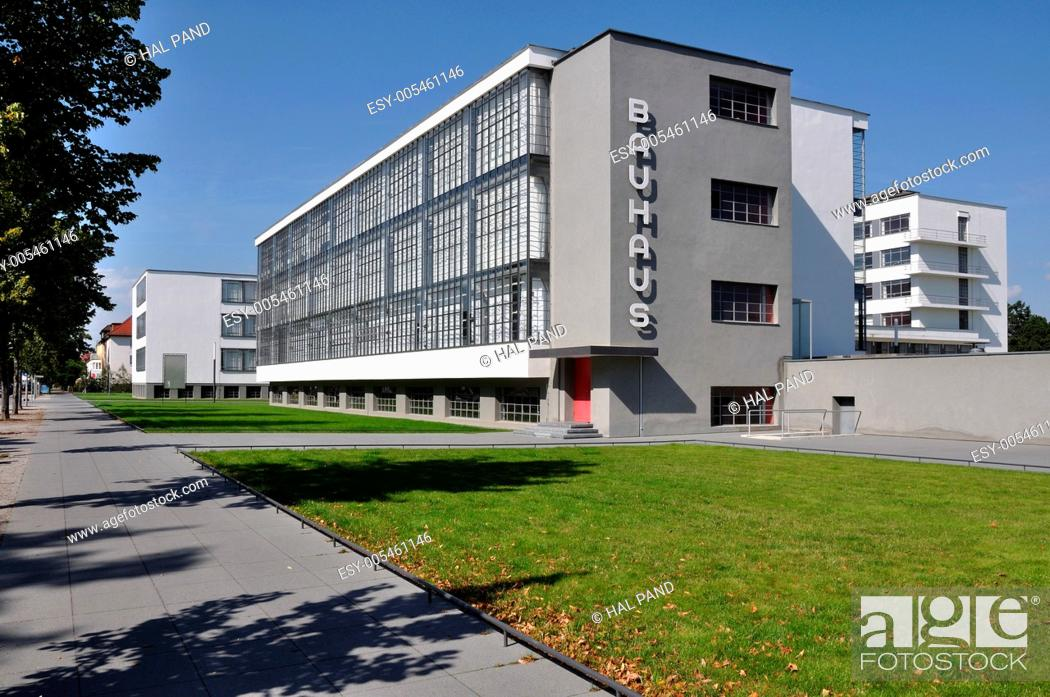 Stock Photo: bauhaus from south, dessau, view in direction south, as seen from the street, of the building symbol of modern architecture in the twenties.