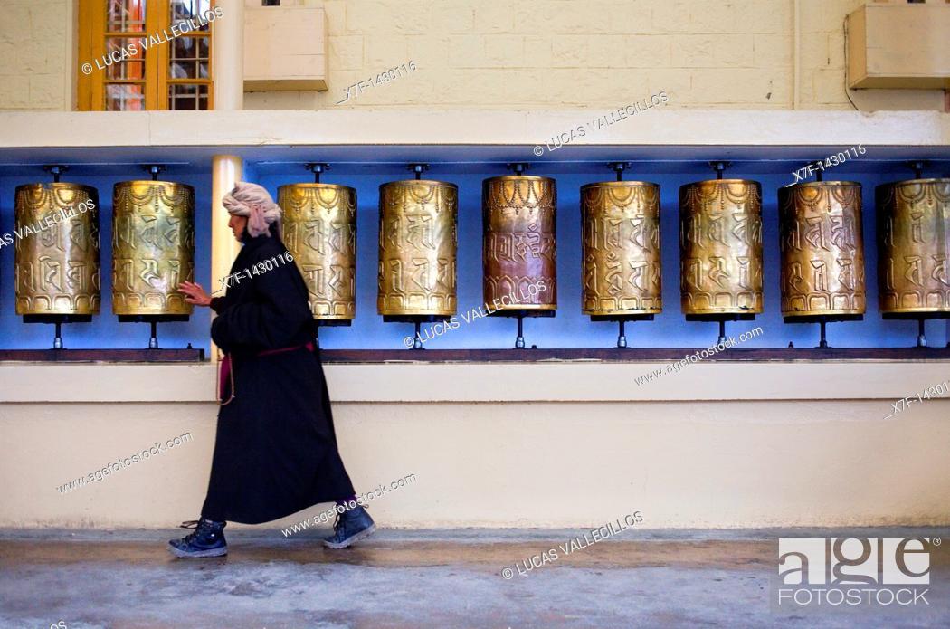 Stock Photo: Prayer wheels,Namgyal Monastery,in Tsuglagkhang complex  McLeod Ganj, Dharamsala, Himachal Pradesh state, India, Asia.