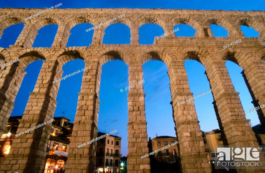 Stock Photo: Roman aqueduct, Segovia. Castilla-León, Spain.