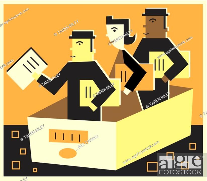Stock Photo: Three people in a file drawer holding documents.