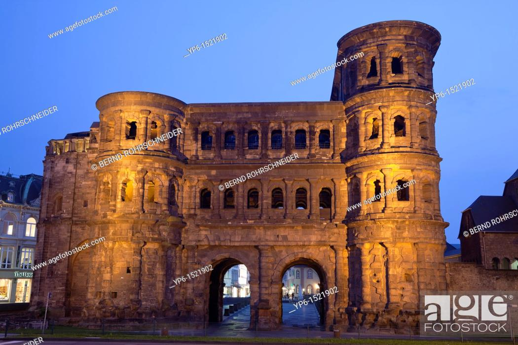 Stock Photo: Porta nigra, ancient city gate, World Heritage Site, illuminated at night, Trier, Germany.