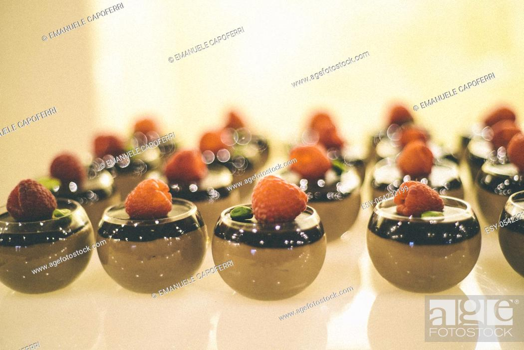 Stock Photo: Desserts with strawberries.