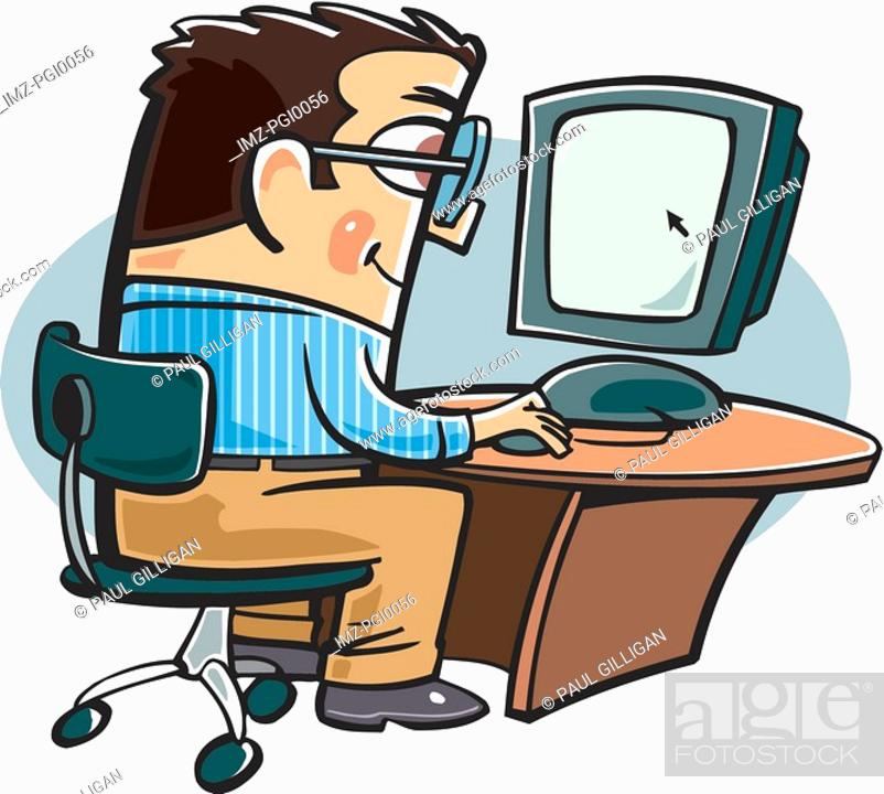 Stock Photo: A businessman on the computer.