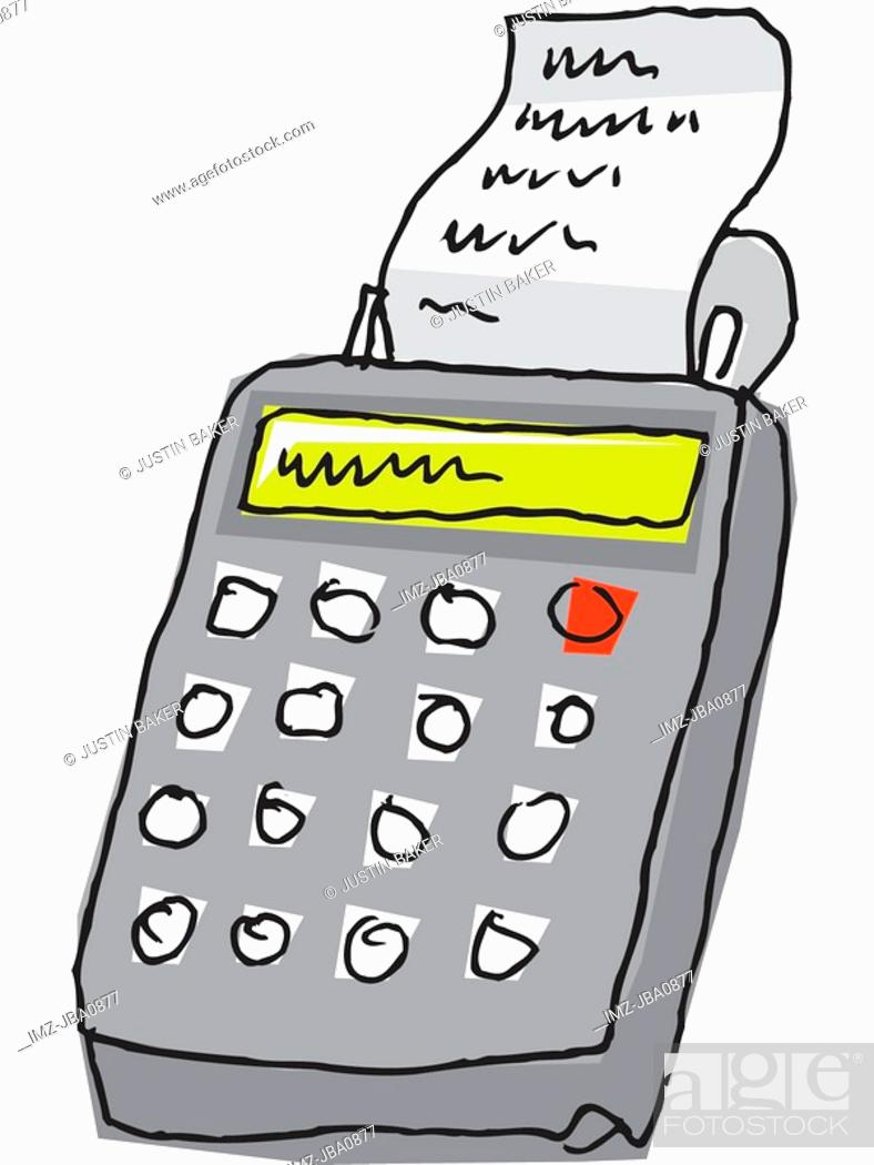 Stock Photo: A drawing of a grey calculator.