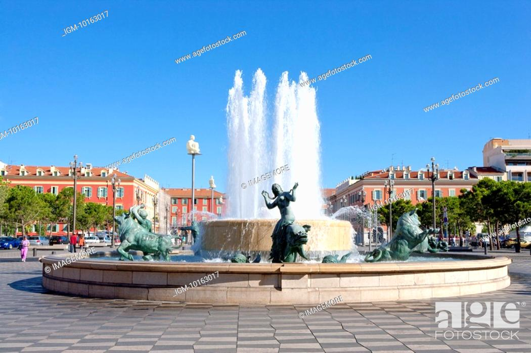 Stock Photo: Fountain, Nice, Provence-Alpes-Cote d'Azur, France, Europe.