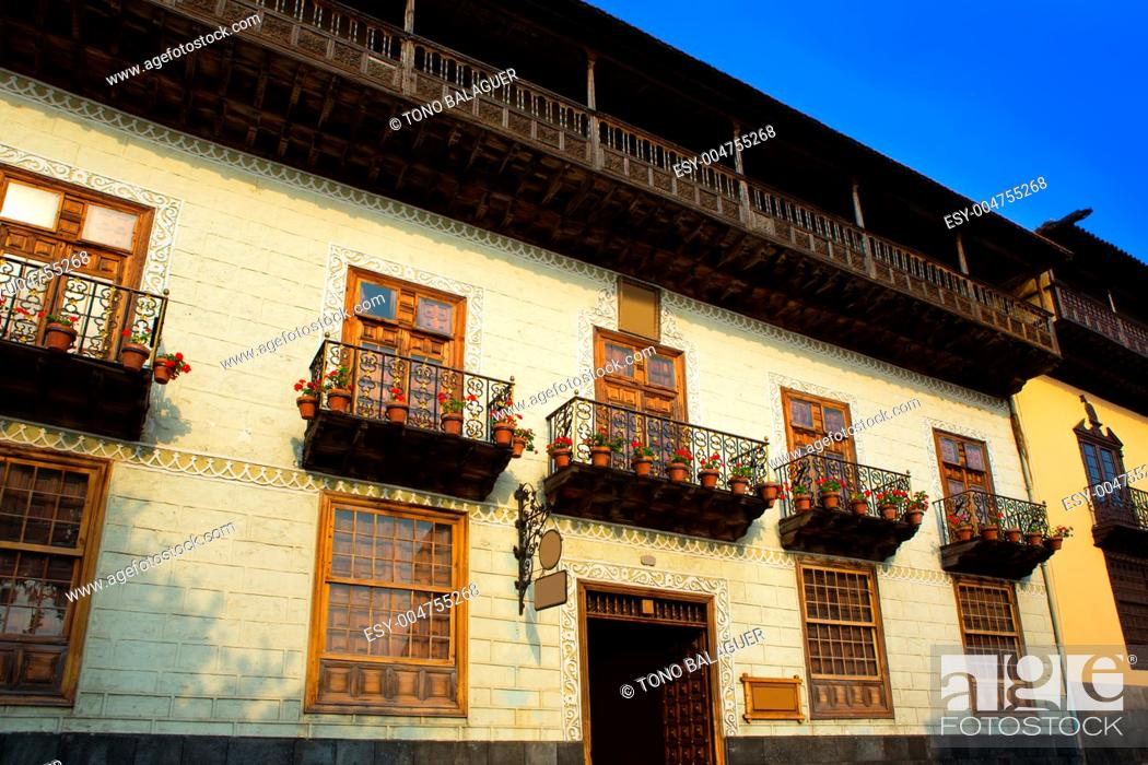 Stock Photo: Casa de los Balcones balcony house in La Orotava Tenerife at Canary Islands.
