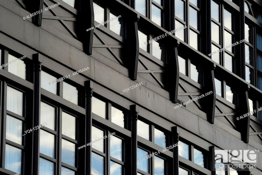 Stock Photo: Windows along the port of Llanes Asturias.