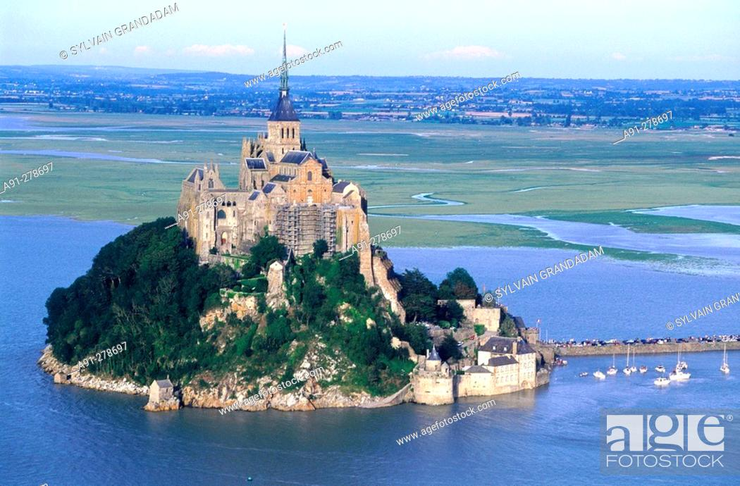 Stock Photo: aerial at high tide. Mont St Michel. Normandy. France.
