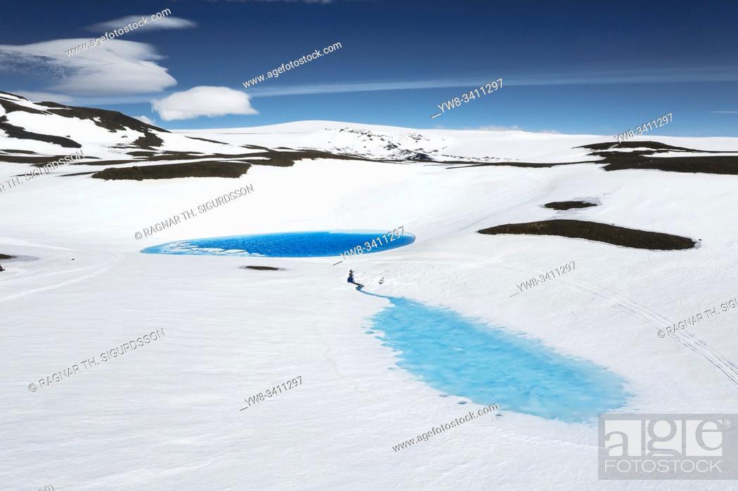 Stock Photo: Blue pools of melting water, Kisubotnar, near Hofsjokull Ice Cap, Iceland.