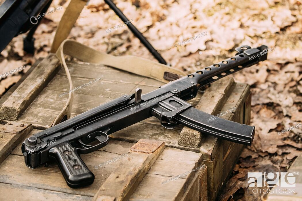 Stock Photo: Old Soviet Russian Red Army Submachine Gun PPS-43 Of World War Ii Lying On The Wooden Box.