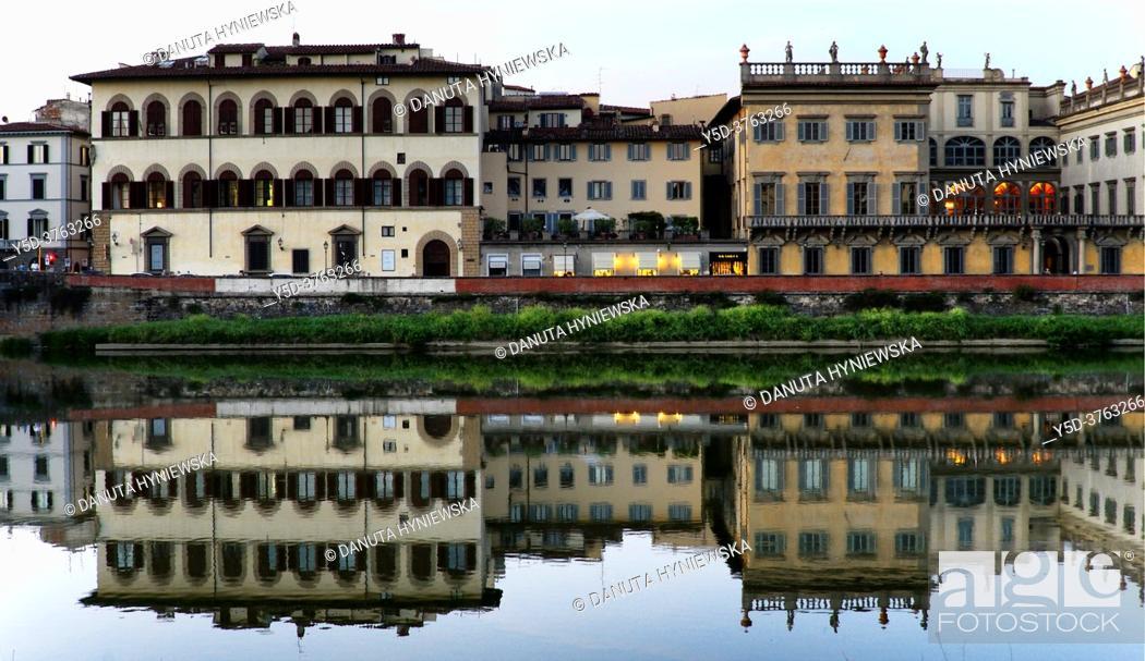 Imagen: historic buildings of Palazzo Corsini along Arno river in the evening, Lungarno Corsini, Florence, Tuscany, Italy, Europe.