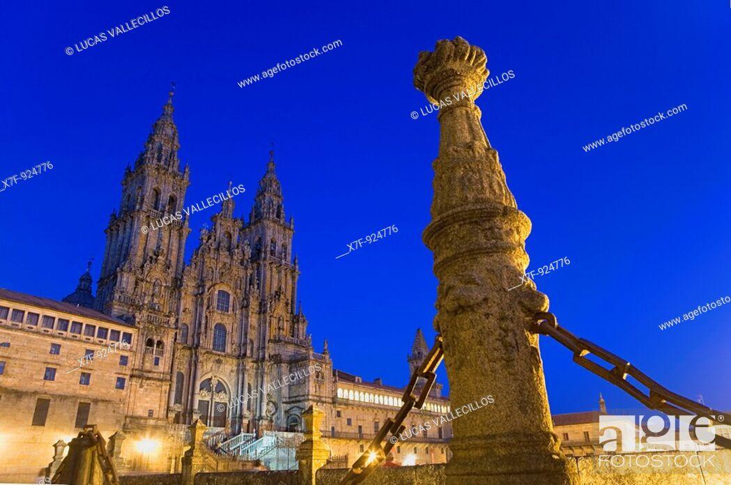 Stock Photo: Santiago Cathedral on the Plaza do Obradoiro, UNESCO World Heritage Site Santiago de Compostela Coruña province Spain  Camino de Santiago.