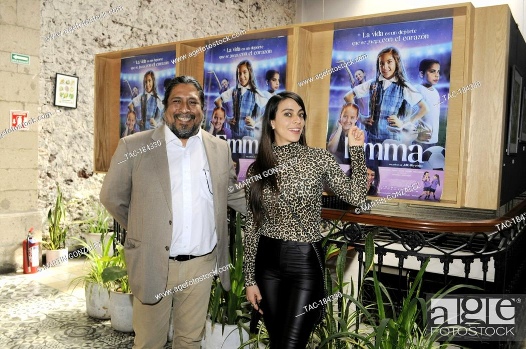 Stock Photo: MEXICO CITY, MEXICO ñ DECEMBER 15: Actress Astrid Romo and Julio Barcenas pose for photos during Emma film press conference at La Casa del Cine Mx.