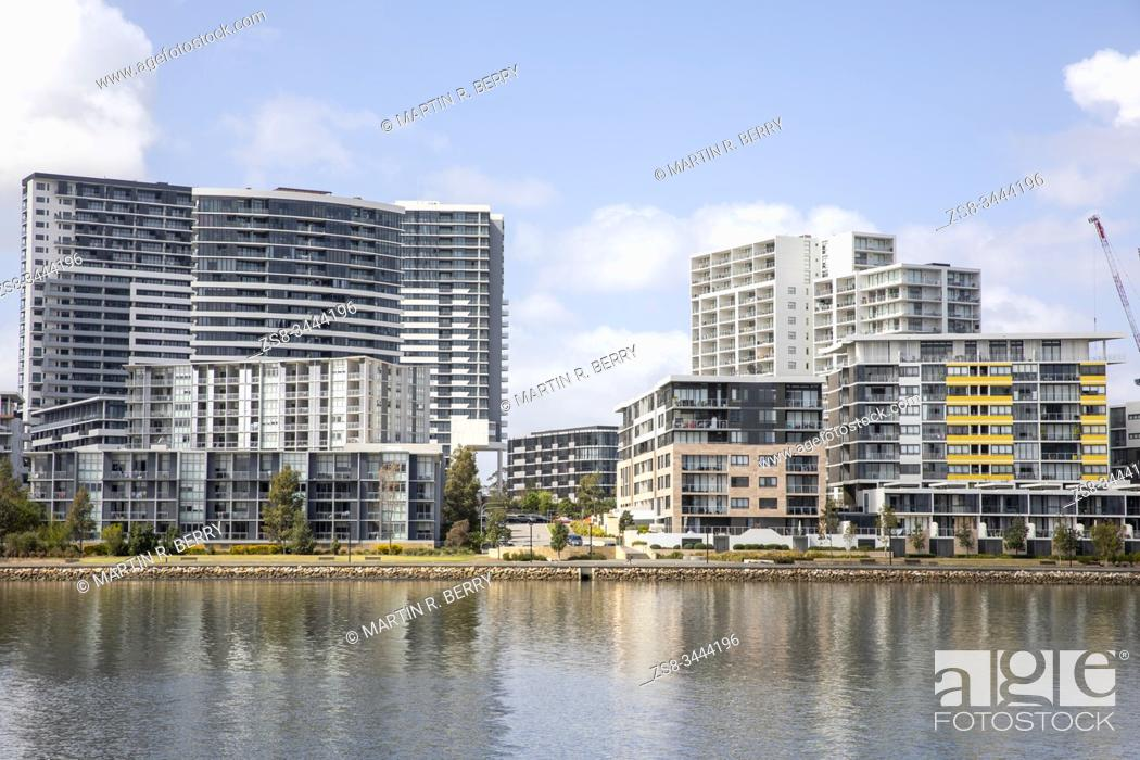 Stock Photo: Waterfront apartments in the Sydney suburb of Rhodes beside the Parramatta river, Sydney, Australia.