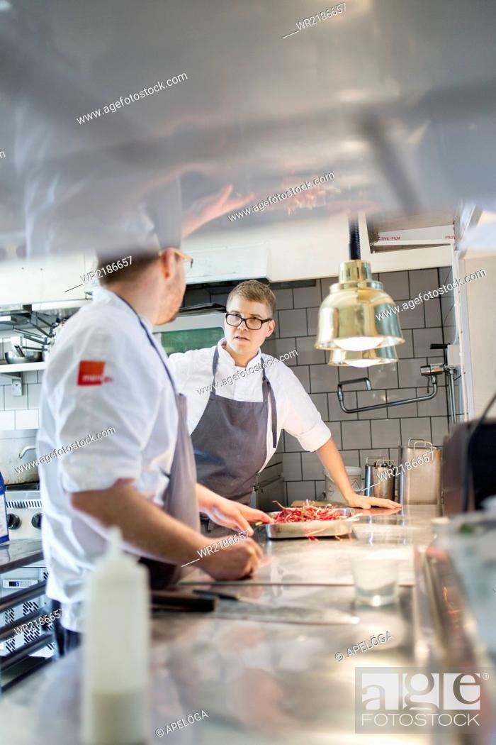 Stock Photo: Chefs communicating in commercial kitchen.