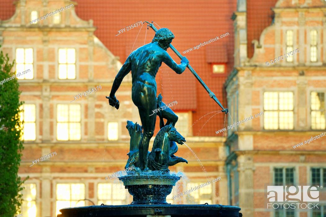 Stock Photo: Gdansk Poland. The Old Town. The Neptune Fountain, erected 1633, with the ornate façade of the Green Gate behind.